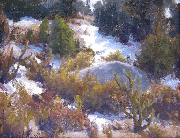 "Foothills Snow 11""x14"" oil $700"