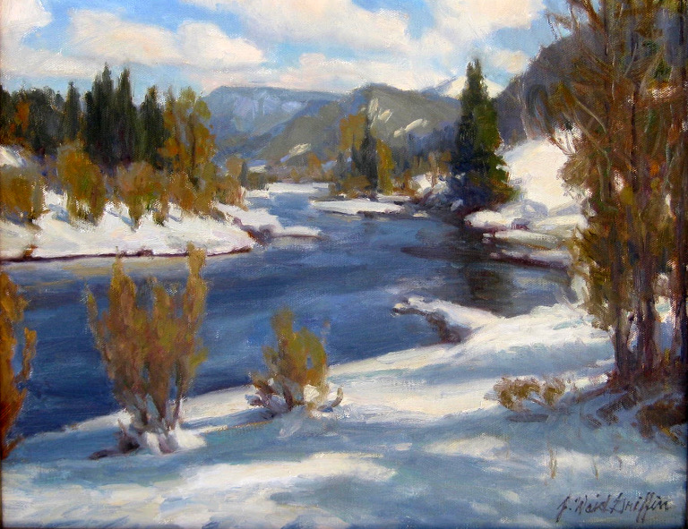"Winter on the Conejos 16""x20"" oil $1500"