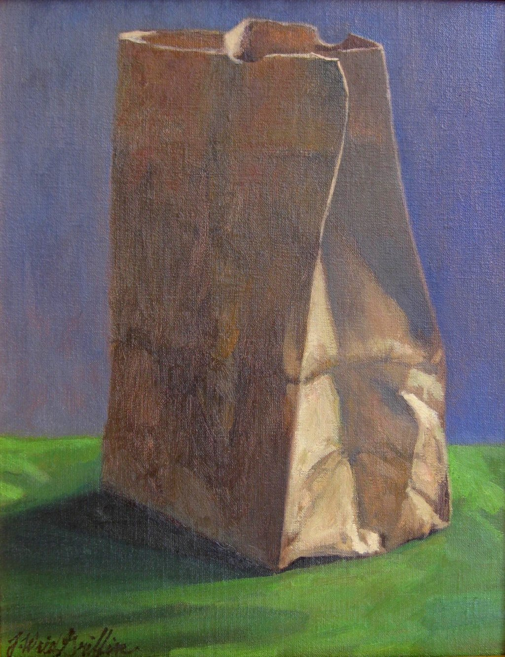 "Brown Bag 14""x11"" oil $700"