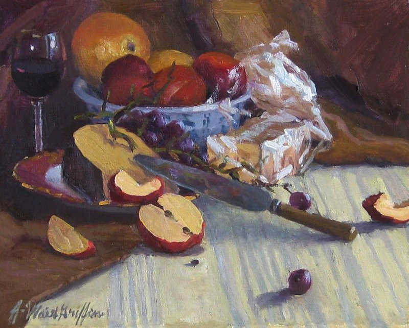 "Rembrandt Gouda & Apples 11""x14"" oil $700"