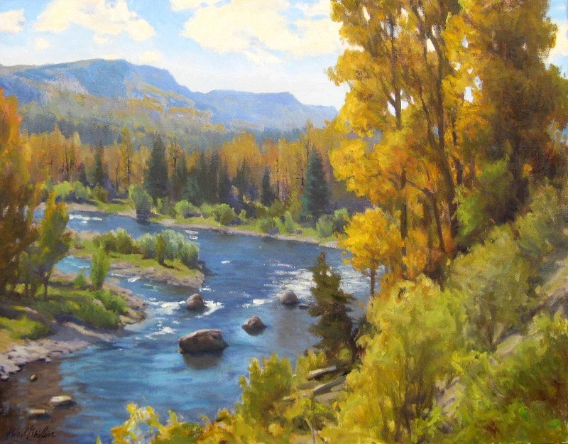 "Conejos River Bend 22""x28"" oil on canvas $2900"